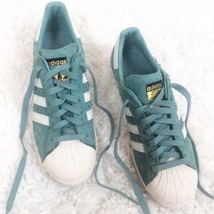 Adidas   Suede Teal Superstar Sneakers 8.5